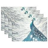 LIANCHENYI - Manteles individuales resistentes al calor, diseño de pájaro de pavo real como cielo...