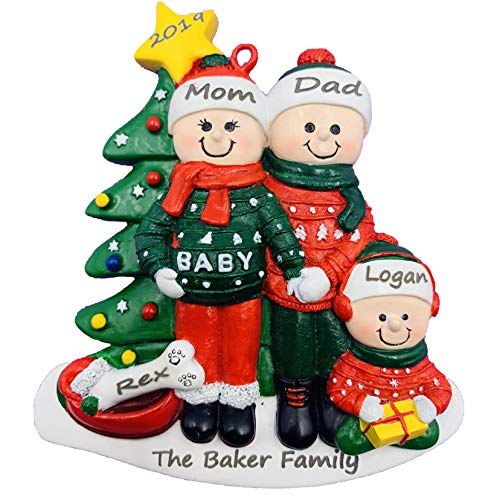 Personalized Pregnant We're Expecting Couple and Dog Christmas Ornament 2020