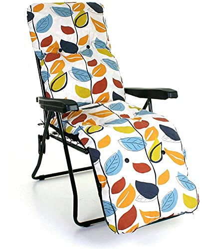 Sun Lounger Garden Recliner Chair Luxury Padded Cushion Outdoor Furniture Patio (Autumn Leaf, 1)
