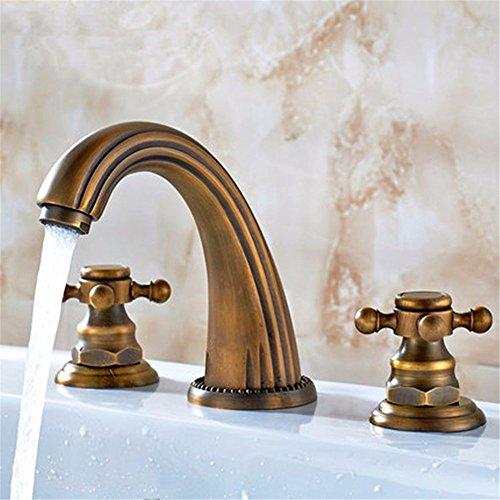 SADASD Il lavandino del Bagno Rubinetto 3 Antico Pezzo di Rame 3 Foro Bagno Diviso ?Rubinetti di Acqua Calda e Fredda