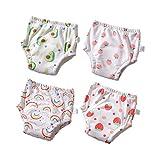 Morbuy 4 Packs Baby Lernwindel Trainerhosen Unterwäsche Windeln Windelhose zum Toilettentraining Töpfchentraining für Baby Kleinkind Töpfchen Klingelhose Trainer Windelhosen (80,Weiße Früchte)