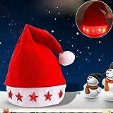 SHATCHI Père Noël clignotant Taille adulte – Chapeau de Noël lumineux étoiles fantaisie pour fête de Noël Rouge