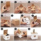 Belle Vous Kleine Geschenkboxen Weiß & Braun mit Herz (50 Stk) - 5,5 x 5,5 x 5,5cm Geschenk Schachtel Box aus Karton Kraftpapier Pappschachteln für Süßwaren, Gastgeschenke, Hochzeit, Party, Geburtstag - 4