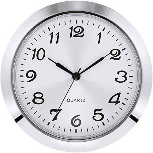 2-1/8 Zoll (55 mm) Quarzuhreinsatz, Zink-Legierung Metallgehäuse, Arabische Ziffer, Weißes Gesicht (Silbern)