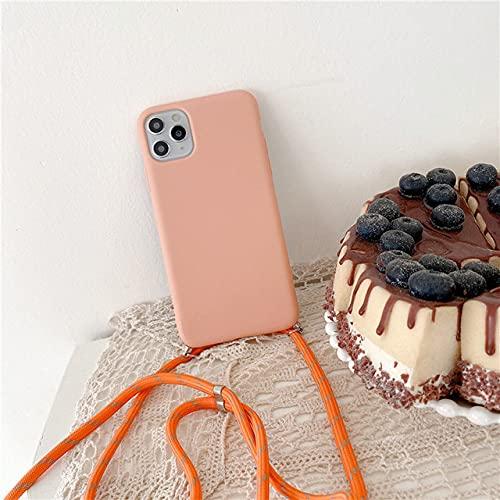 Crossbody Collar Correa Cordón Funda de Silicona para teléfono para iPhone 12 Mini 12 Pro MAX 11 Pro MAX X XR XS MAX 6S 7 8 Plus Funda, b, para iPhone 11 Pro