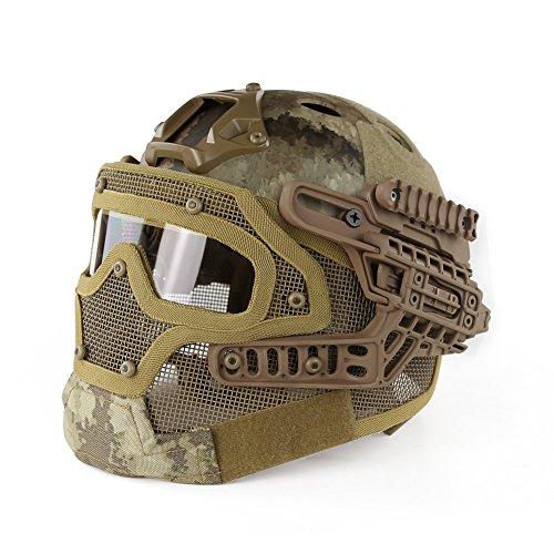 Hotour Taktischer Helm PJ-Typ Fast Molle mit Maske und Schutzbrille G4 System für Airsoft Paintball CS Outdoor