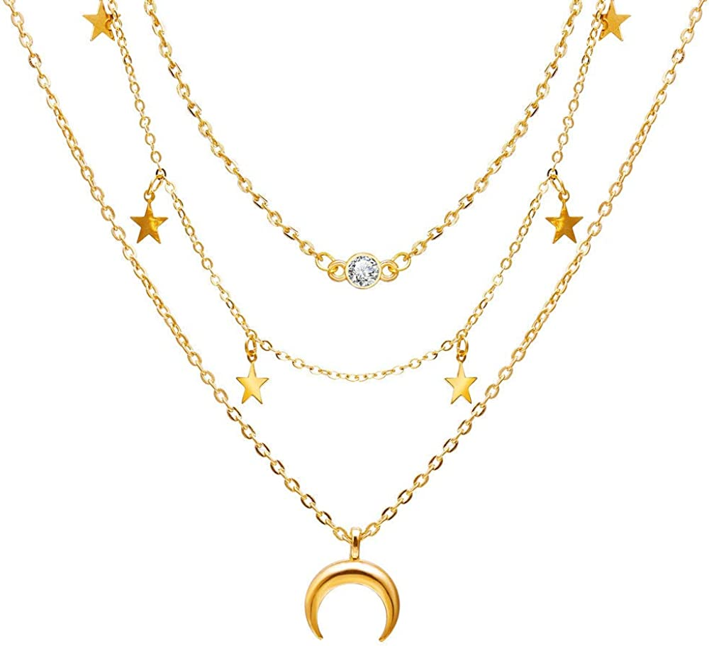 Reyife 18k Gold Plated Layered Necklace Rolo Chain CZ Star Moon Pendant Choker Necklace for Women Girls Jewelry Gift