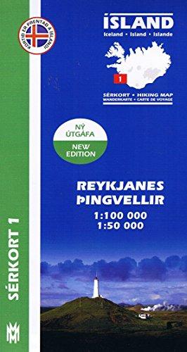 Serkort 1: Reykjanes, Thinvellir ( Südwest Island) Island Trekkingkarte 1:100.000 mit Detailwanderkarte 1:50.000