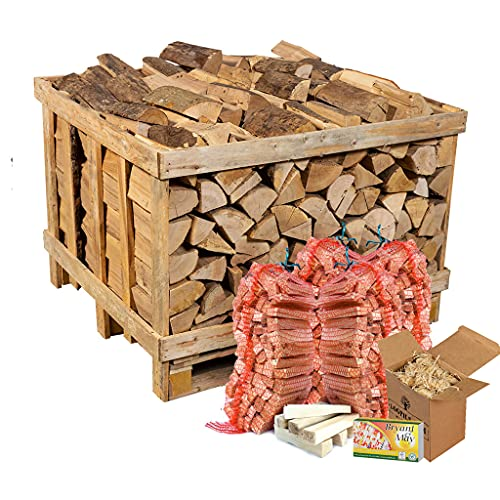 Hardwood Logs. 400 Kg Crate. Kiln Dried Hardwood Logs. Crated Bulk kit. Complete with 4 kindling nets, firelighters and Matches.