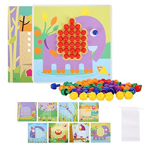 Tablero de Mosaicos Infantiles, Juguetes Montessori Puzzles con 240 Botones y 8 Imágenes, Juguete Educativo de Primera Infancia para Niños y Niñas