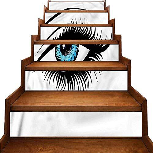 JiuYIBB - Pegatinas autoadhesivas para escaleras, color azul