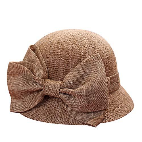 Women Fashion Straw Bow Soft Hat Su…