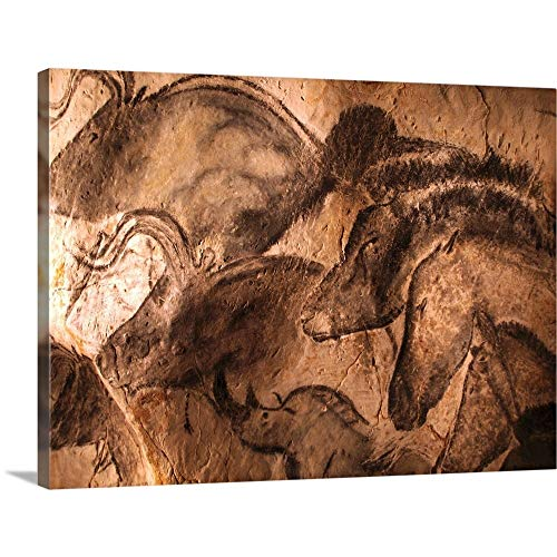 Stone-Age cave Paintings, Chauvet, France Canvas Wall Art Print, 40'x30'x1.25'