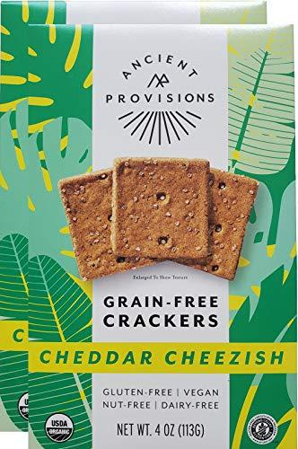 Ancient Provisions Vegan Crackers - Plant Based Organic Vegan Cheddar Cheezish, Gluten Free, Grain Free, Dairy Free, Paleo, Nut free, Top 8 Allergen Free - 2 Pack