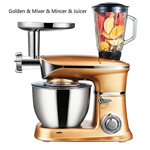 YGGY Mixer Spremiagrumi Tritacarne 3 in 1 Frullatore Robot da Cucina 6.5L 220 V 1300 W 50 Hz Affettatrice per CarneMiscelatore da Cucina Elettrico, Golden.Mix.min.Jui, Spina UE