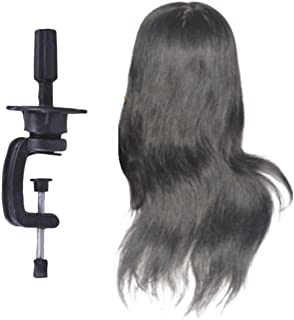 PIXNOR Real Hair Mannequin Head Hair Styling Training Head Cosmetology Mannequin Head Wig Head with Mannequin Head Rack fo...