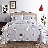 FHKBK Weiße Stickerei Baumwolle Quilts 3Pcs 230x250cm Golden Blue Qualität Tagesdecke Bettdecke Größe Waterwash Bettlaken Tagesdecken,Gold