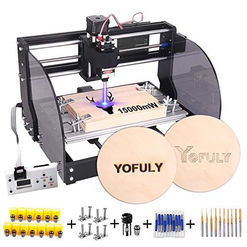 2-in-1 Upgrade 3018 Pro-M CNC Router Kit, 15000mW Engraver GRBL Control 3...