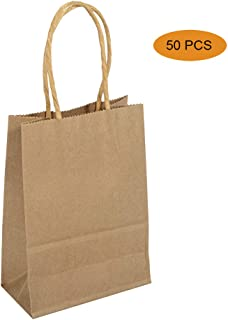 KEYBEE Kraft Paper Bags - 50pcs Craft Paper Gift Bags With Sturdy Handles - Great For Shopping,Party,Gift,Birthday,Wedding,Party Celebration,Lunch,Merchandise And Retails (brown, 21 * 15 * 8 cm)
