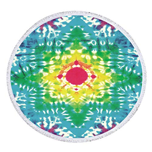 Muium(TM) Toallas de playa portátiles redondas, 150 cm, multicolor, resistentes a la arena, ultraligeras y de secado rápido, ideales como toalla de playa, de viaje, de sauna, de pícnic, etc.
