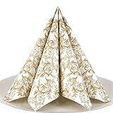 Servietten Ornament gold Premium Airlaid, STOFFÄHNLICH | 50 Stück | 40 x 40cm | Hochzeitsserviette | hochwertige edle Serviette für Hochzeit, Geburtstag, Party, Taufe, Kommunion | made in Germany
