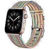 Ouwegaga Compatible con Apple Watch Correa 38mm 40mm 42mm 44mm, Correa de Tela Tejida Nylon de Repuesto Compatible con Apple Watch SE/iWatch Series 6 5 4 3 2 1, Multicolor 38mm/40mm