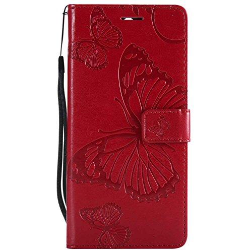 DENDICO Cover Huawei Mate 10 Lite, Pelle Portafoglio Custodia per Huawei Mate 10 Lite Custodia a Libro con Funzione di appoggio e Porta Carte di cRossoito - Rosso