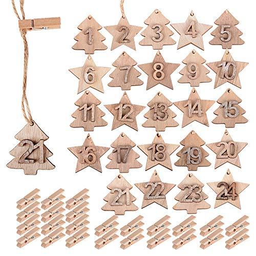 MEJOSER 24pcs Colgantes Madera Navidad Calendario de Adviento Número 1-24 +24pcs Pinzas Madera + 2metros Cuerdas cañamos Regalos Adornos Navideños Manualidades Ornamentos de Navidad