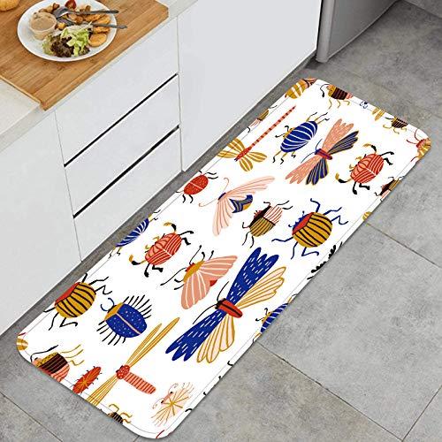 Cocina Antideslizante Alfombras de pie colección Insectos Mariposas libélulas escarabajos Aislado Decoración de Piso Confortables para el hogar, Fregadero, lavandería-120cm x 45cm
