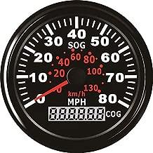 ELING GPS Speedometer Speedo Gauge 0-80MPH for Boat Yacht Vessel 3-3/8'' (85mm) 9-32V (LED Shows Course not Odometer)