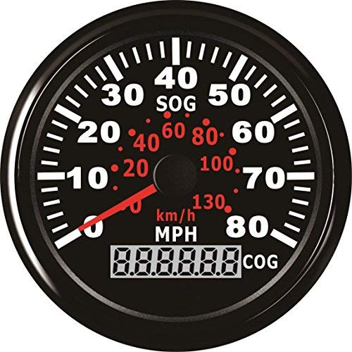 ELING GPS Speedometer Speedo Gauge 0-80MPH for Boat Yacht Vessel 3-3/8'' (85mm) 9-32V (LED Shows Course not Odometer)