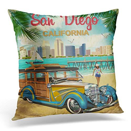 Awowee Kissenbezug, 40 x 40 cm, San Diego California, Retro-Poster-Aquarell-Muster, Hawaii-Art-Dschungel, Miami See, Heimdekoration, Kissenbezug für Sofa, Stuhl, Bett