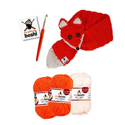 myboshi Häkel-Set Fuchs Kitsune Schal | für Kinder | aus No.1 | Anleitung + Wolle | mit Häkelnadel | Schal-Set | Weiss Signalrot