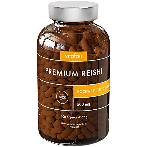 Reishi Extrakt 20:1-500mg pro Tagesdosis - 100 Kapseln - 30% Bioaktive Polysaccharide - Hochdosierter Ganoderma Lucidum - Vegan - Ohne Magnesiumstearat - Made in Germany