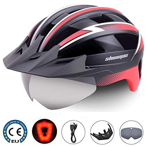 Shinmax Fahrradhelm,CE-Zertifikat,Fahrradhelm mit LED Rücklicht Radhelm Abnehmbarer Schutzbrille Visor für Männer Frauen Mountain & Road Fahrradhelm Einstellbarer Sicherheitsschutz Ski & Snowboard