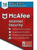McAfee Internet Security 2021, 10 dispositivi, 1 Anno, Software Antivirus, Gestore di Password, PC/Mac/Android/iOS, Edizione Europea, Codice d'Attivazione via Posta