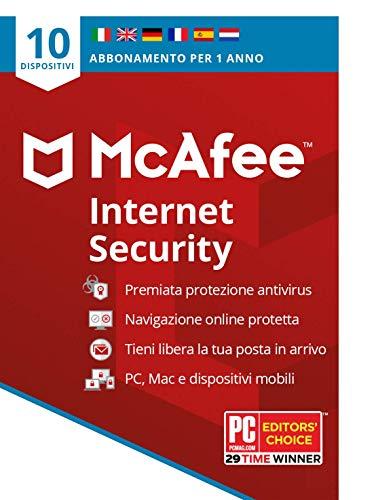 McAfee Internet Security 2021, 10 dispositivi, 1 Anno, Software Antivirus, Gestore di Password, PC Mac Android iOS, Edizione Europea, Codice d Attivazione via Posta