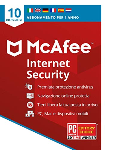 McAfee Internet Security 2021, 10 dispositivi, 1 Anno, Software Antivirus, Gestore di Password, PC/Mac/Android/iOS, Edizione Europea, Codice d'Attivazione via Posta