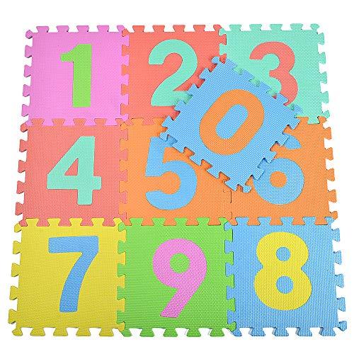 hollylife Alfombra Puzzle Goma Espuma EVA,10 piezas, Alfombras Grandes Infantiles de Actividades de Números par Niños y Bebes, 84 x 84 x 1 cm, Sin BPA