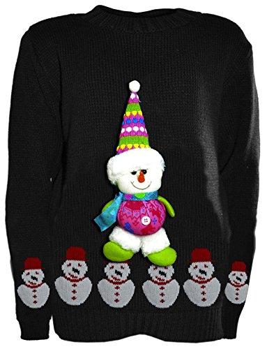 Xclusive Plus Jersey navideño con Decorado - de Color Muñeco de Nieve Negra para niños de Talla 7-8 años