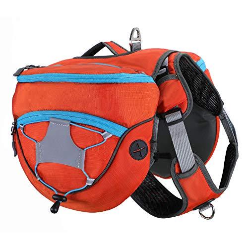 PETTOM Satteltasche Hund Hunderucksack Reflektierende für Wandern Reisen Camping Hundebackpack für Mittelgroße Große Hunde (Orange/Lila/Blau)