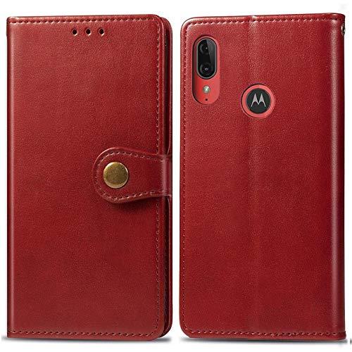 Happy-L Caso Moto E6 Plus, Funda de Billetera, Caja Delgada de Cuero PU Premium con Cierre magnético Fuerte de Doble vía (Color : Red)