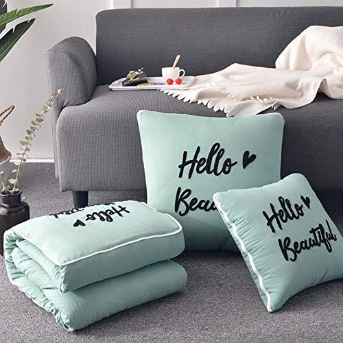 THWYJ 2 In 1 Kissen Decke Auto Sofa Lendenkissen Quilt Faltbare Patchwork, Muster7,40X40Cm