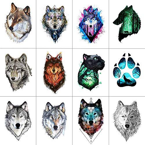 WYUEN 12 PCS/lot Wolf Temporary Tattoo Sticker for Women Men Fashion Body Art Adults Waterproof Hand Fake Tatoo 9.8X6cm FW12-01 (FW12-01D)