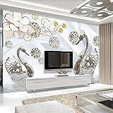 Papel tapiz personalizado origami flores pájaros 3d TV fondo pared joyas blancas flores cisne lago agua reflexión papel tapiz,430(W)*300(H)cm