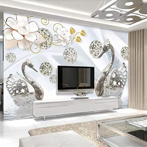 Papier peint personnalisé origami fleurs oiseaux 3d TV fond mur bijoux blancs fleurs cygne lac réflexion de l'eau papier peint,400(W)*280(H)cm
