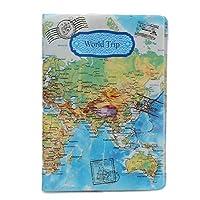 男性用新世界トラベルマップパスポートカバー、PVCレザーポケットパスポートホルダー14 * 10cmパスポートホルダー (03)