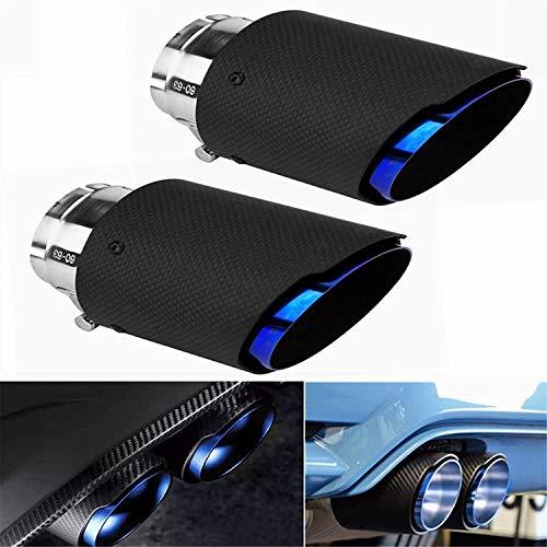 Iriisy Tubo de Silenciador de Escape de Fibra de Carbono para Coche Puntas de Escape Universales 60mm - 63mm Garganta de Cola Salida del Tubo de Escape Trasero 2PCS (azul)