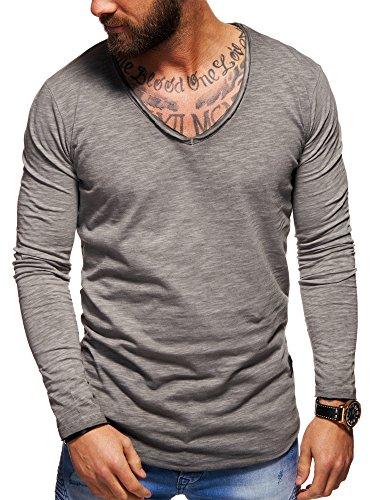 behype. Herren Langarm Basic Longsleeve V-Neck T-Shirt 30-3741 Grau S