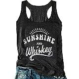 Women Sunshine and Whiskey Tank Top Sunrise Graphic T Shirt Summer Sleeveless O-Neck Casual Tee Tops (M, Black)